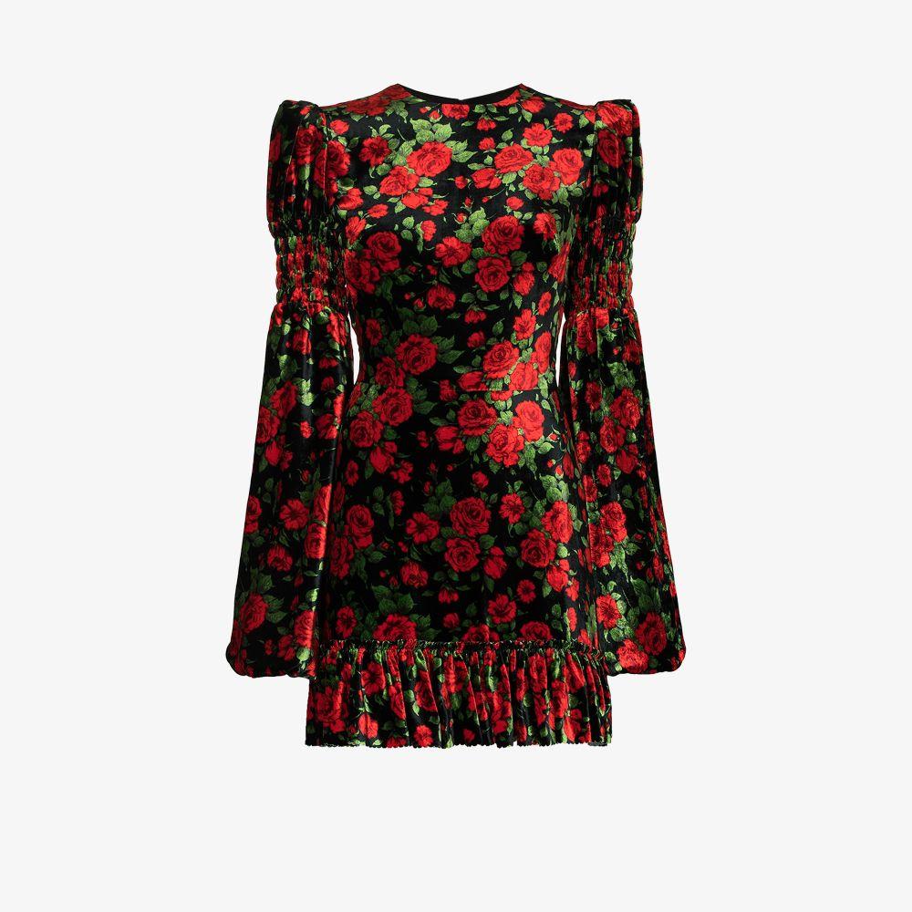 The Vampire's Wife Mini dresses BLACK CARLINE ROSE PRINTED VELVET MINI DRESS