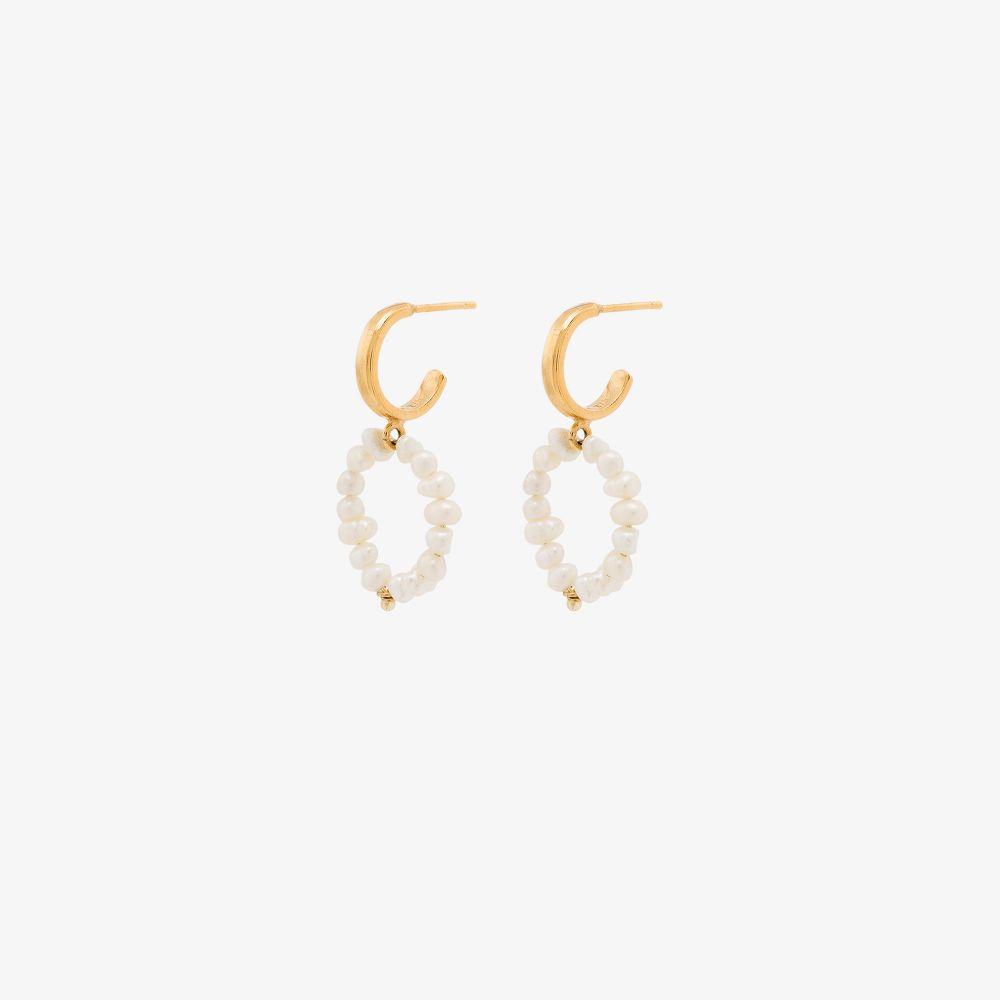 Gold-Plated Mini Hoop Pearl Earrings