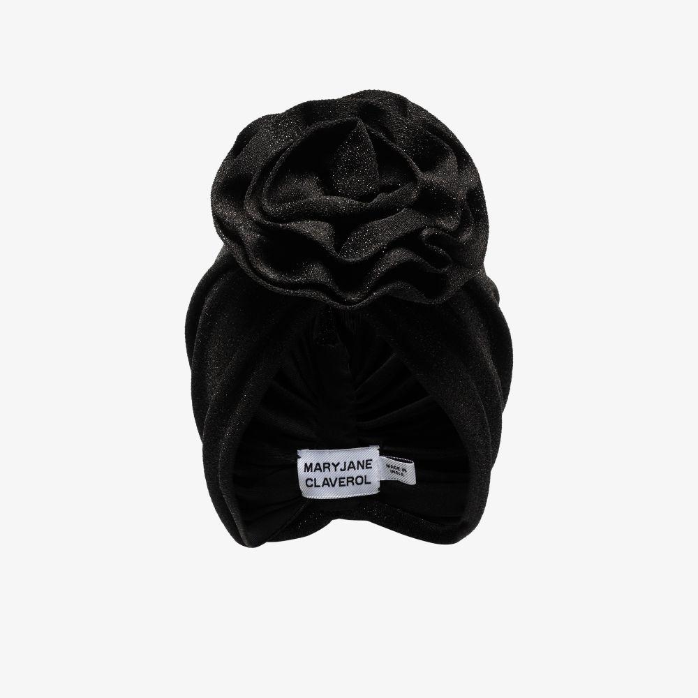 Black Jana Flower Knot Turban