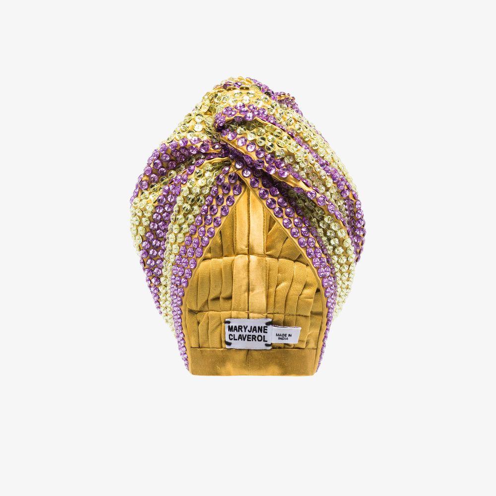 Yellow And Purple Malibu Sequin Hair Turban