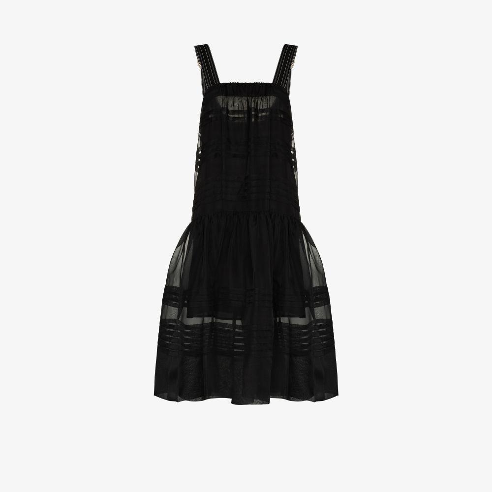 Lee Mathews BLACK ANDES PLEAT ORGANZA APRON DRESS