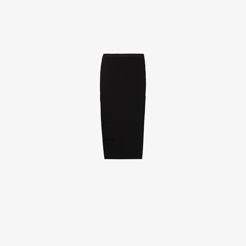 Rick Owens BLACK PILLAR HIGH WAIST PENCIL SKIRT