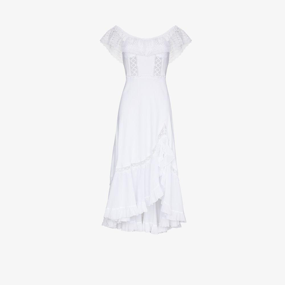 Charo Ruiz WHITE LOUISE OFF-THE-SHOULDER MAXI DRESS