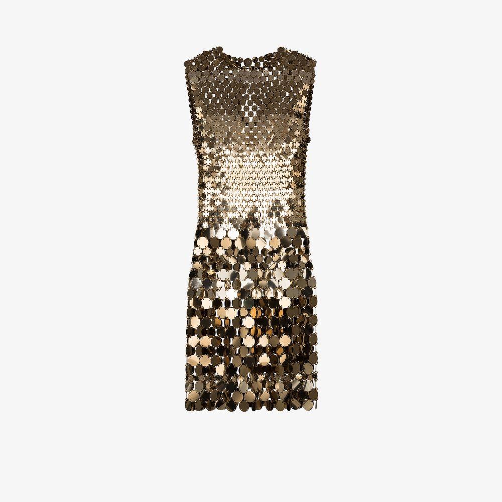 Paco Rabanne Dresses GOLD METALLIC DISC MINI DRESS