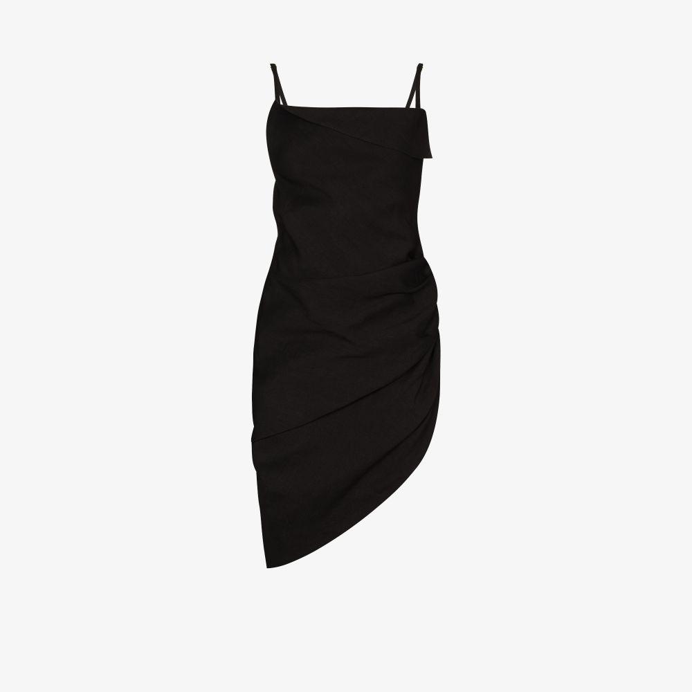 Jacquemus La Robe Saudade Ruched Mini Dress In Black