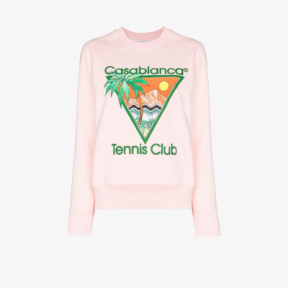 Casablanca Cottons PINK TENNIS CLUB PRINT COTTON SWEATSHIRT