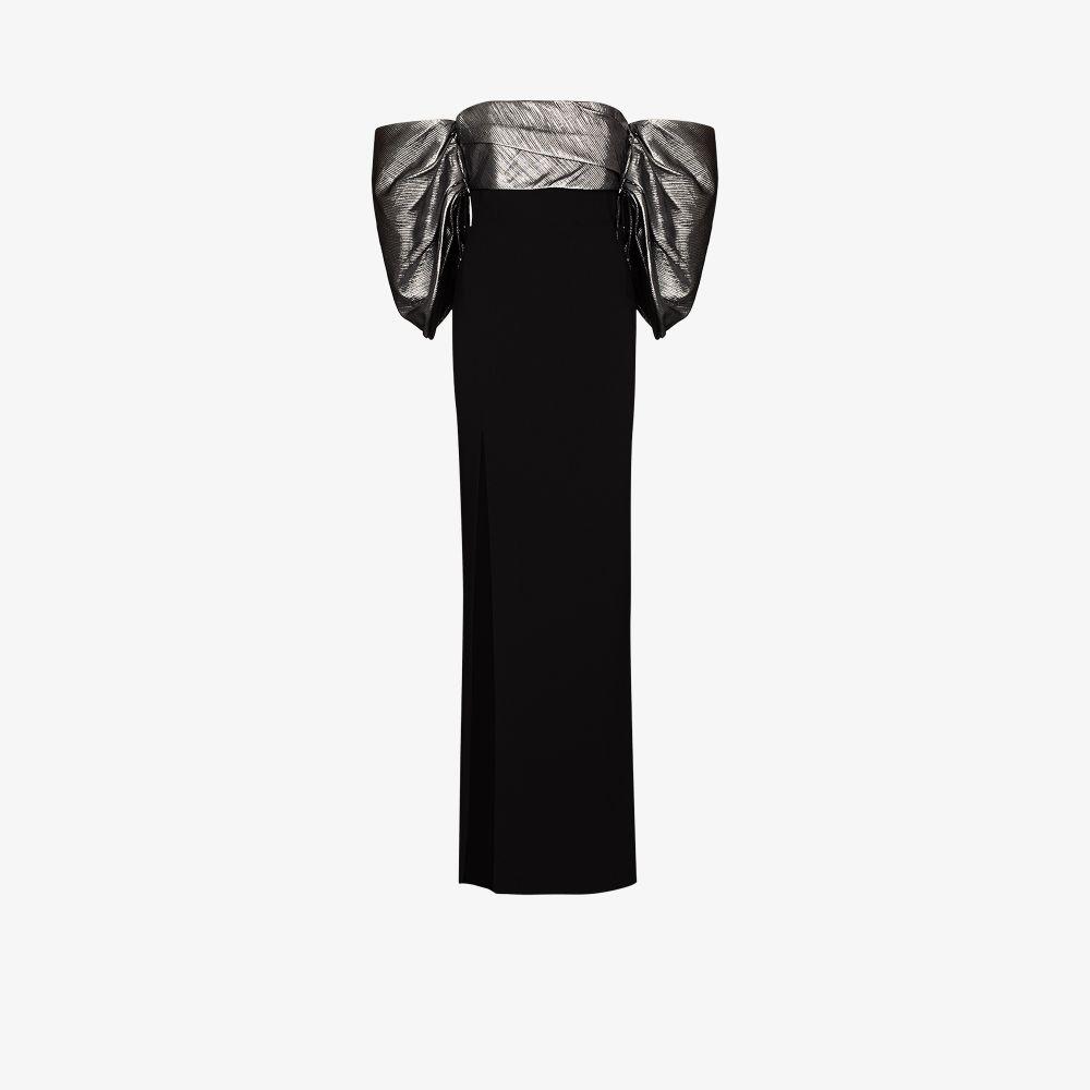 Solace London Gowns BLACK LUNA OFF-THE-SHOULDER GOWN