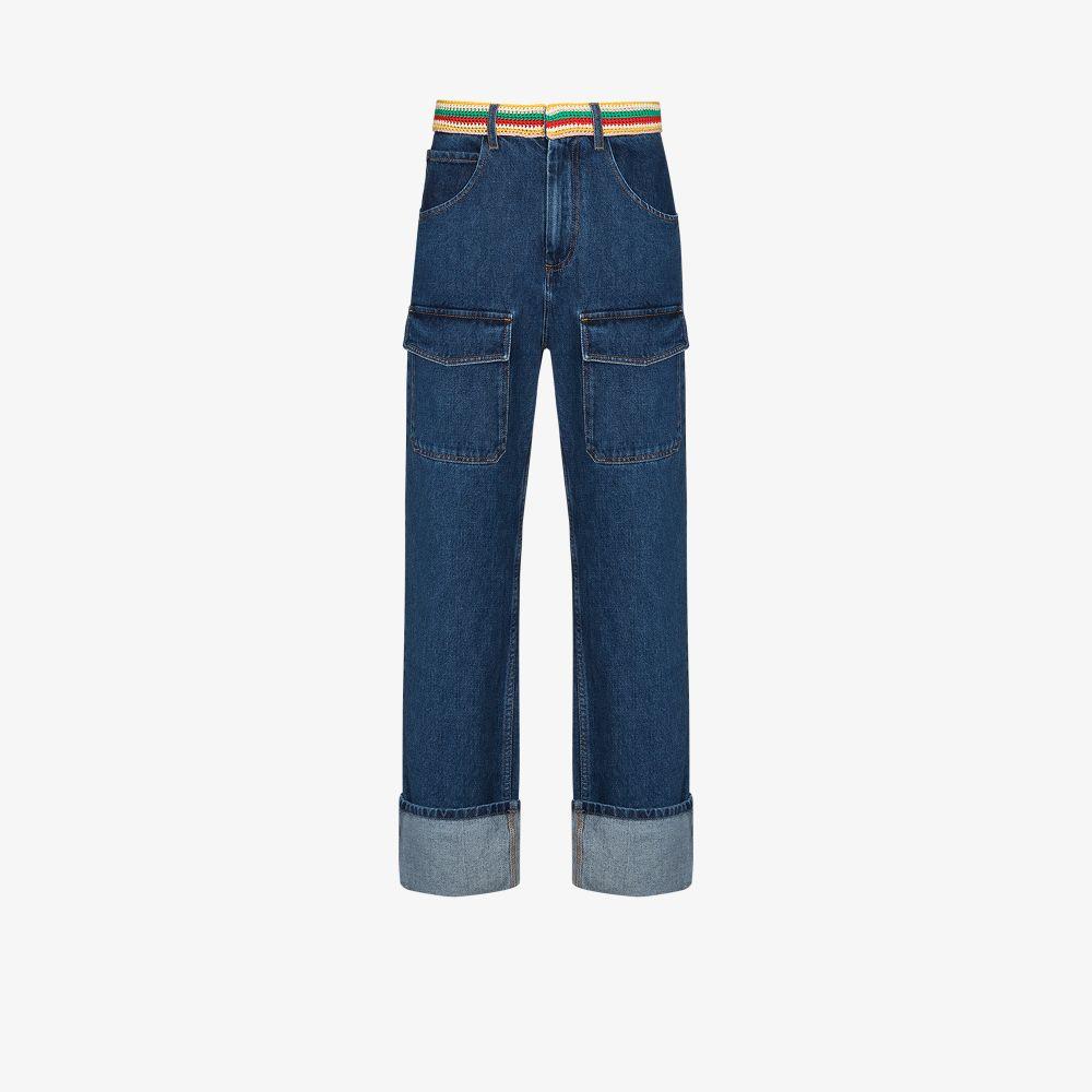 Wales Bonner Jeans BLUE BRIXTON CROCHET WAIST STRAIGHT LEG JEANS