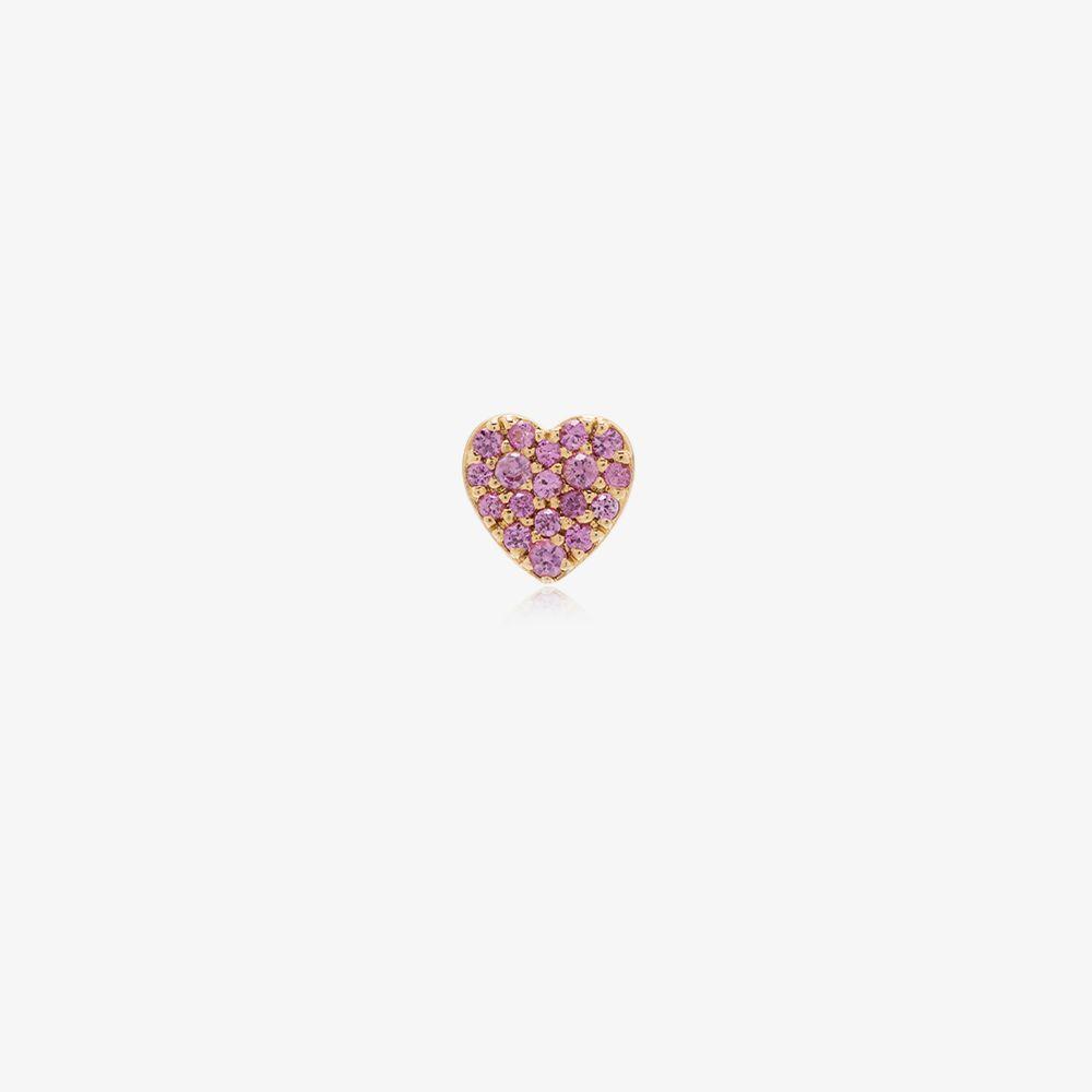 18K Yellow Gold Heart Sapphire Charm