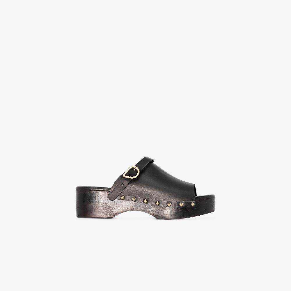 Ancient Greek Sandals BLACK CLASSIC CLOG LEATHER MULES