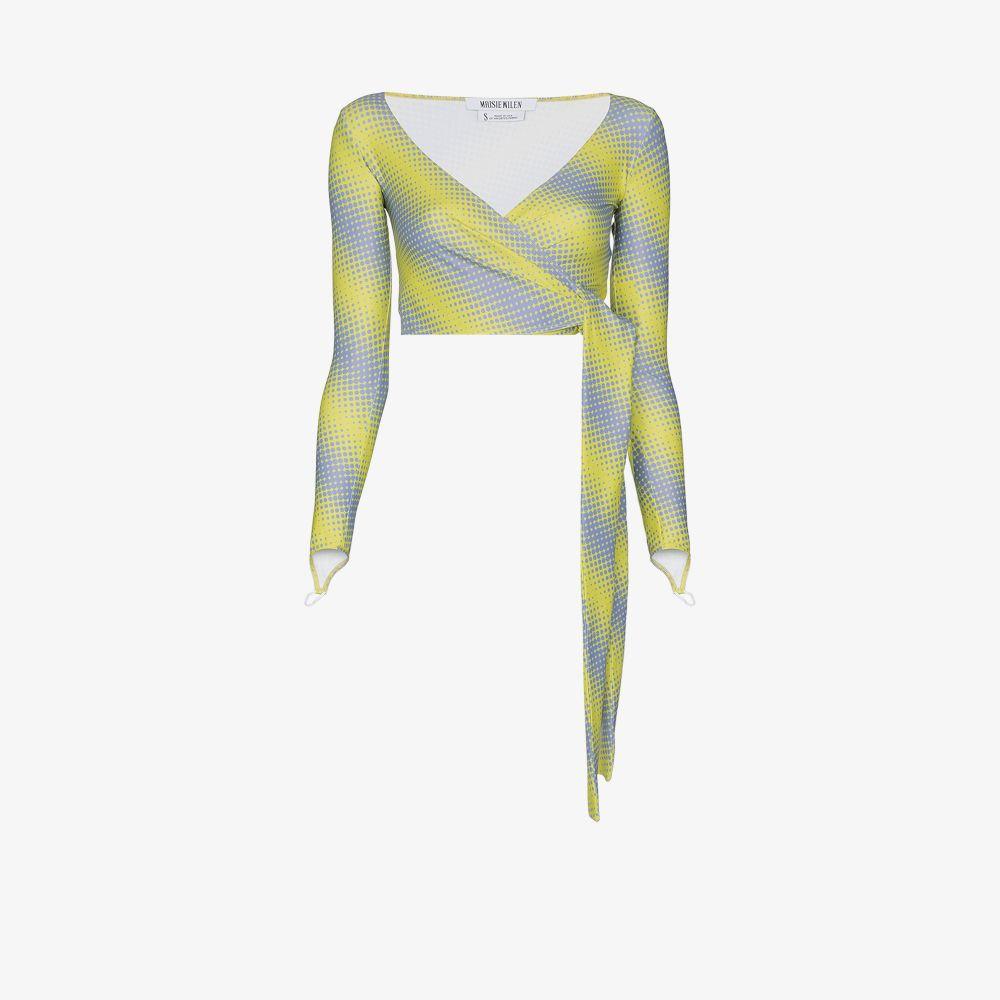 Diagonal Print Wrap Top