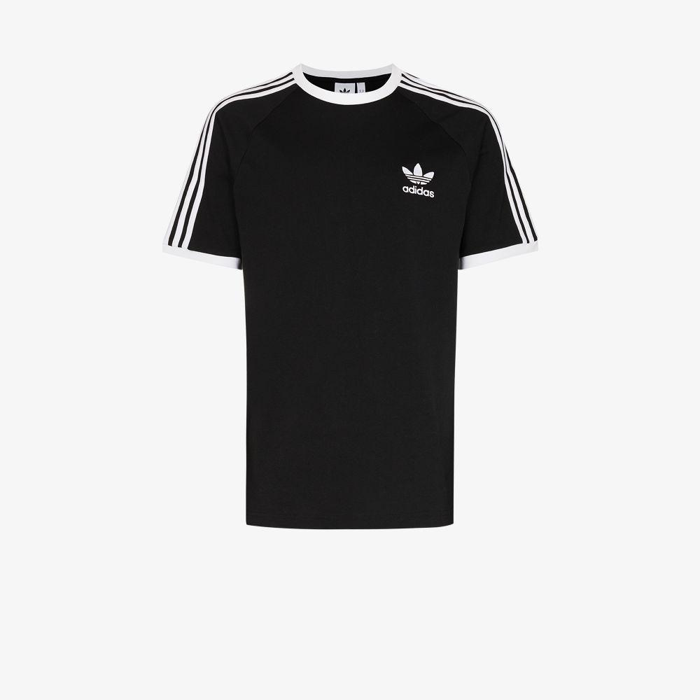Adidas Originals BLACK 3-STRIPE COTTON T-SHIRT