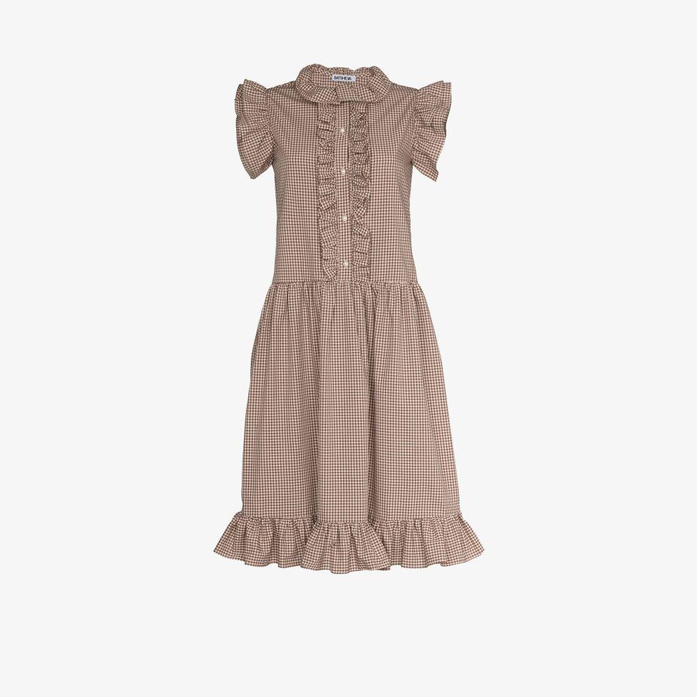 Claude Ruffled Gingham Dress