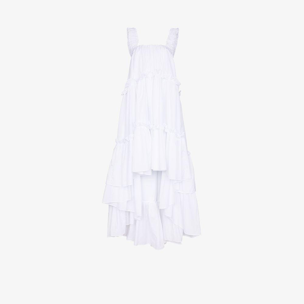 Brøgger WHITE AUBREY TIERED RUFFLED DRESS