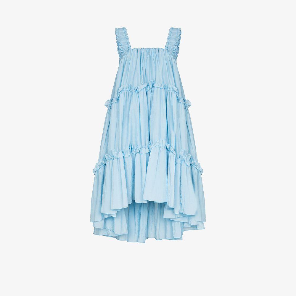 Brøgger BLUE ADALEE SQUARE NECK TIERED DRESS