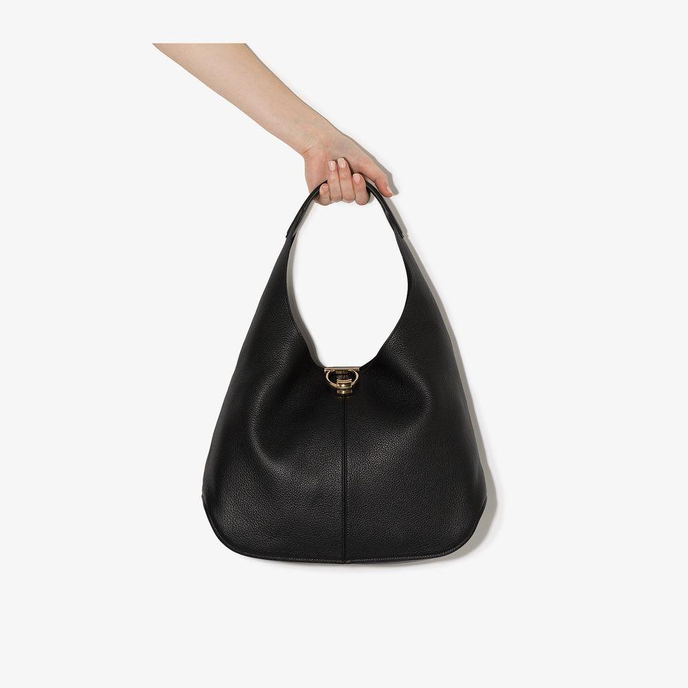 Salvatore Ferragamo BLACK GANCINI SMALL LEATHER SHOULDER BAG