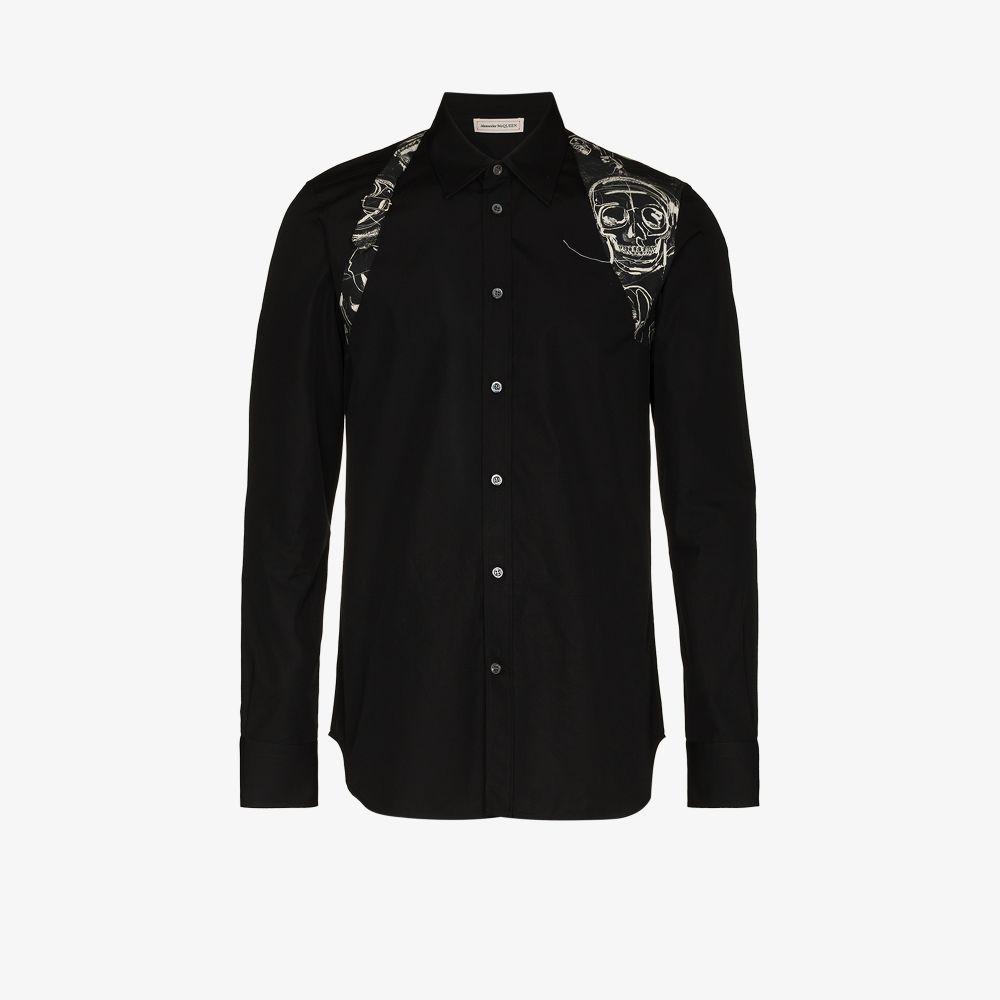 Alexander Mcqueen Shirts BLACK LONG SLEEVED COTTON SHIRT