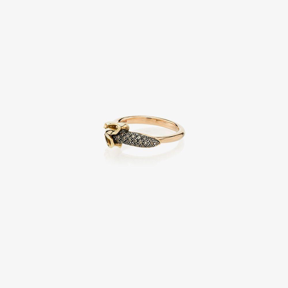 18K Yellow Gold Banana Diamond Ring