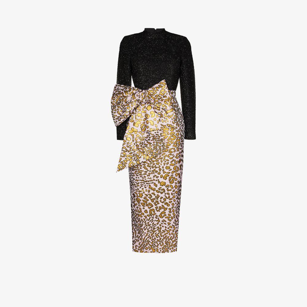 Halpern Maxi dresses BLACK LEOPARD PRINT BOW DRESS