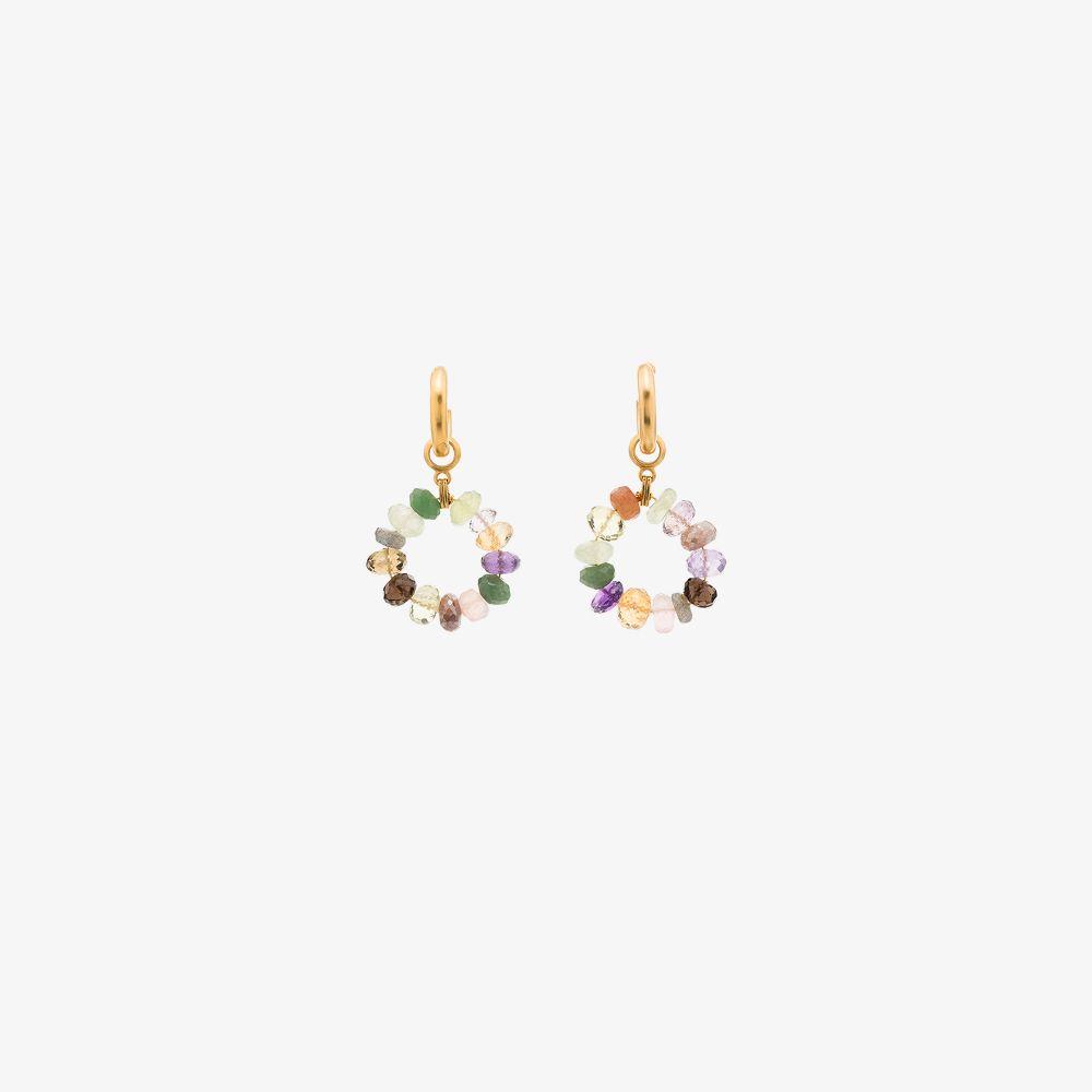 Gold-Plated Dazzle Beaded Hoop Earrings