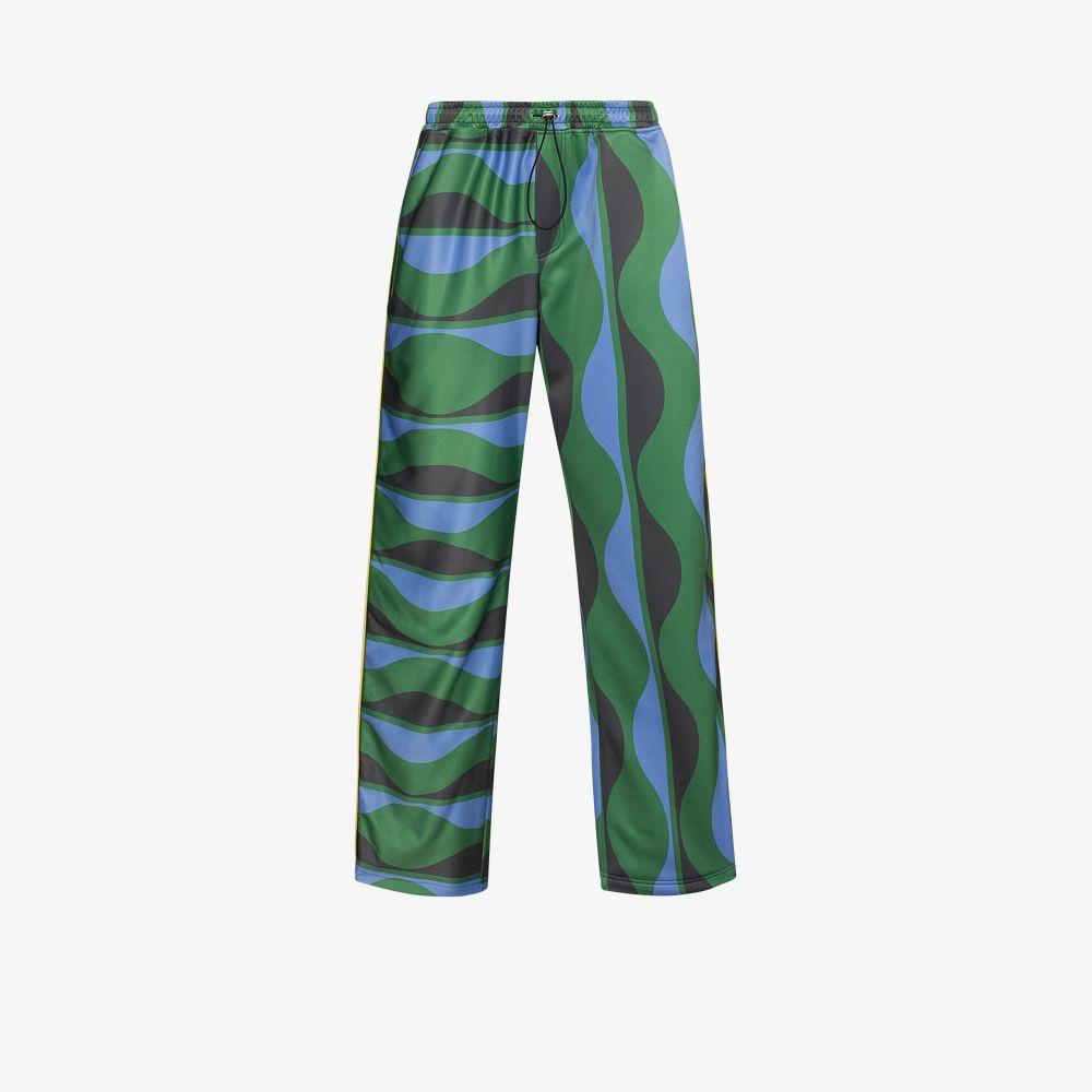Ahluwalia Downs GREEN JOY WAVE PRINT TRACK PANTS