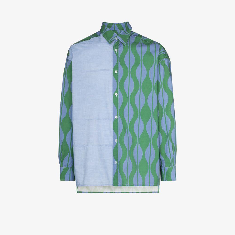 Ahluwalia Shirts BLUE DENNIS WAVE PRINT SHIRT