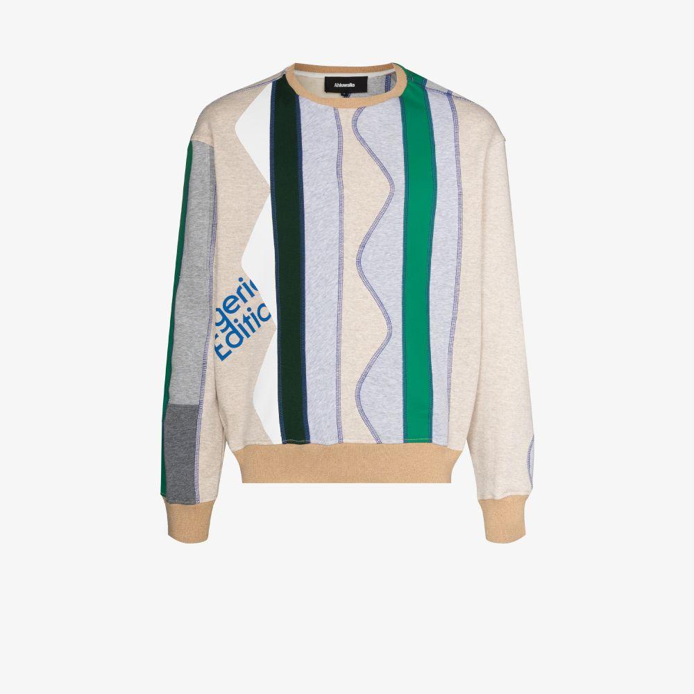 Ahluwalia Sweatshirts GREEN ZIGZAG PANELLED SWEATSHIRT
