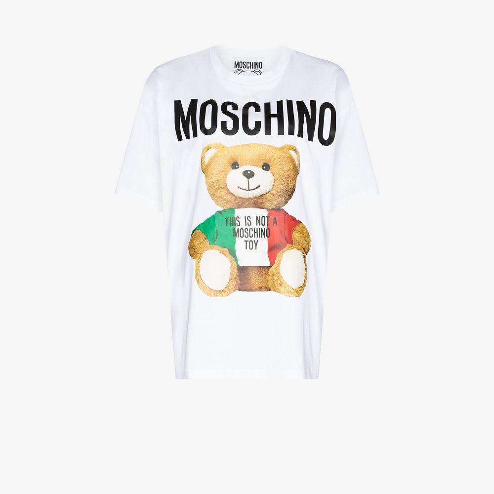 MOSCHINO WHITE TEDDY BEAR LOGO T-SHIRT