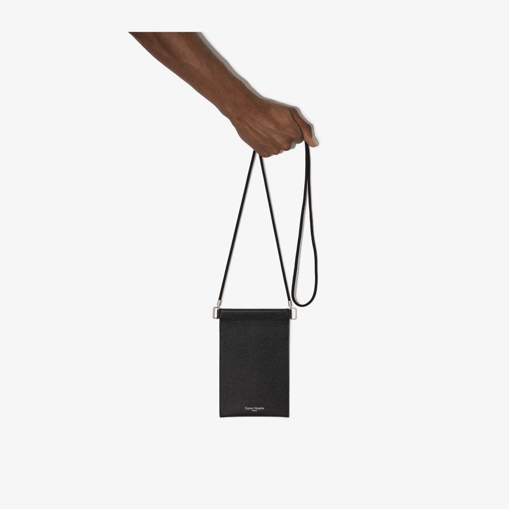 Maison Margiela BLACK GRAINED LEATHER PHONE POUCH