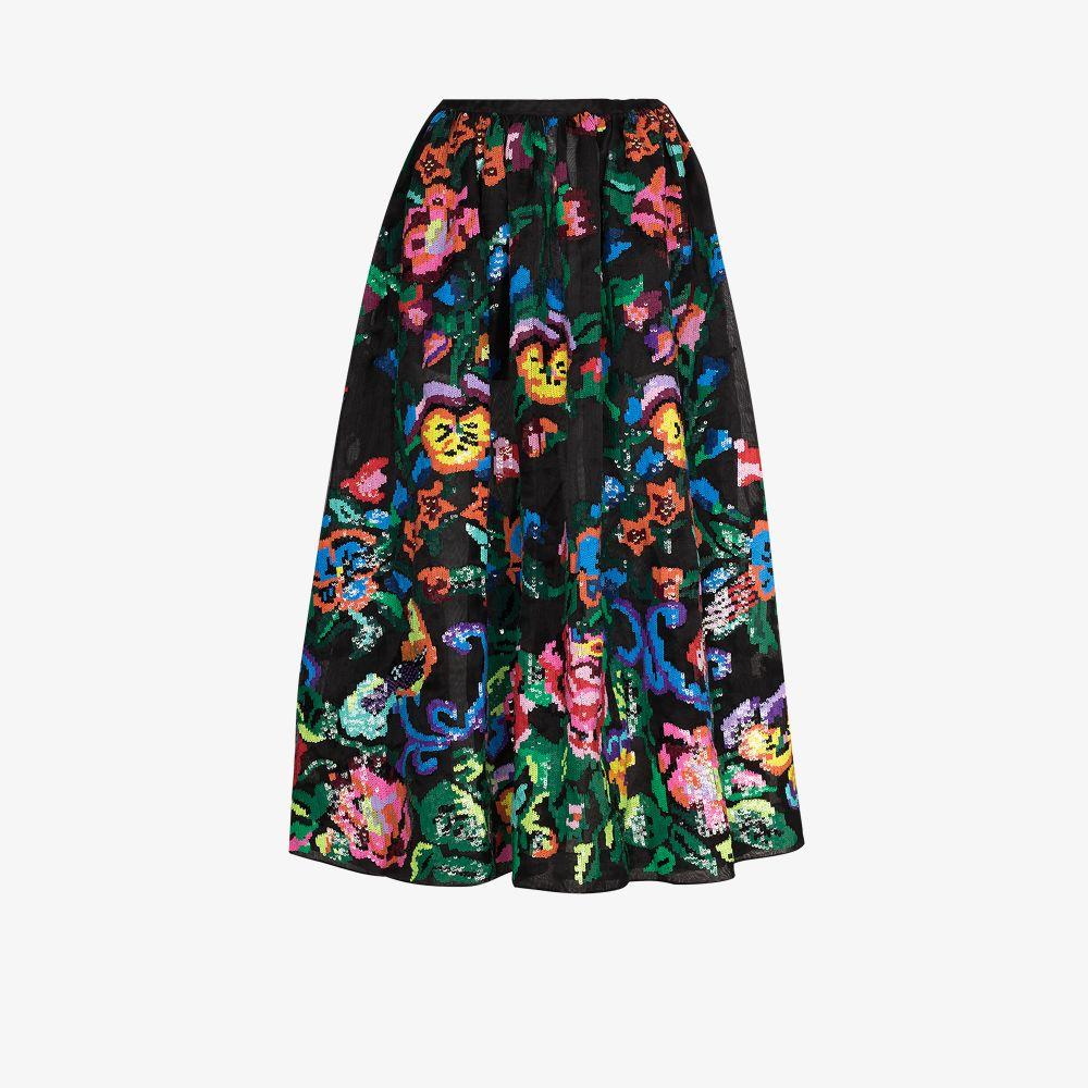 Ashish Skirts BLACK FLORAL SEQUIN FULL SKIRT