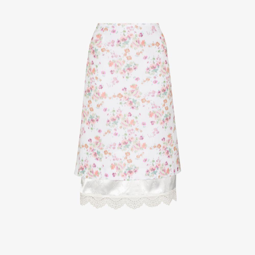Double Hem Floral Midi Skirt