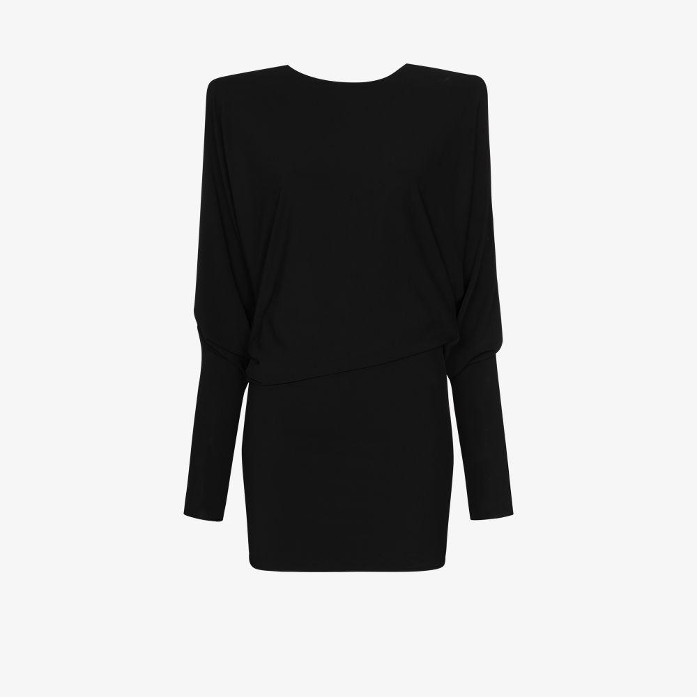 Alexandre Vauthier BLACK PADDED SHOULDER MINI DRESS