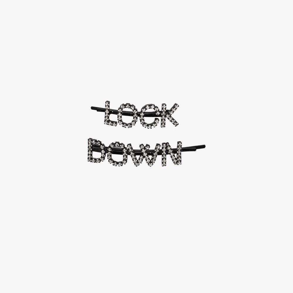 Silver Tone Lock Down Crystal Hair Clip Set