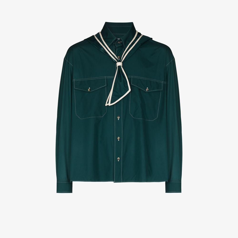 Uniforme Shirts GREEN BRAIDED HOOD SHIRT