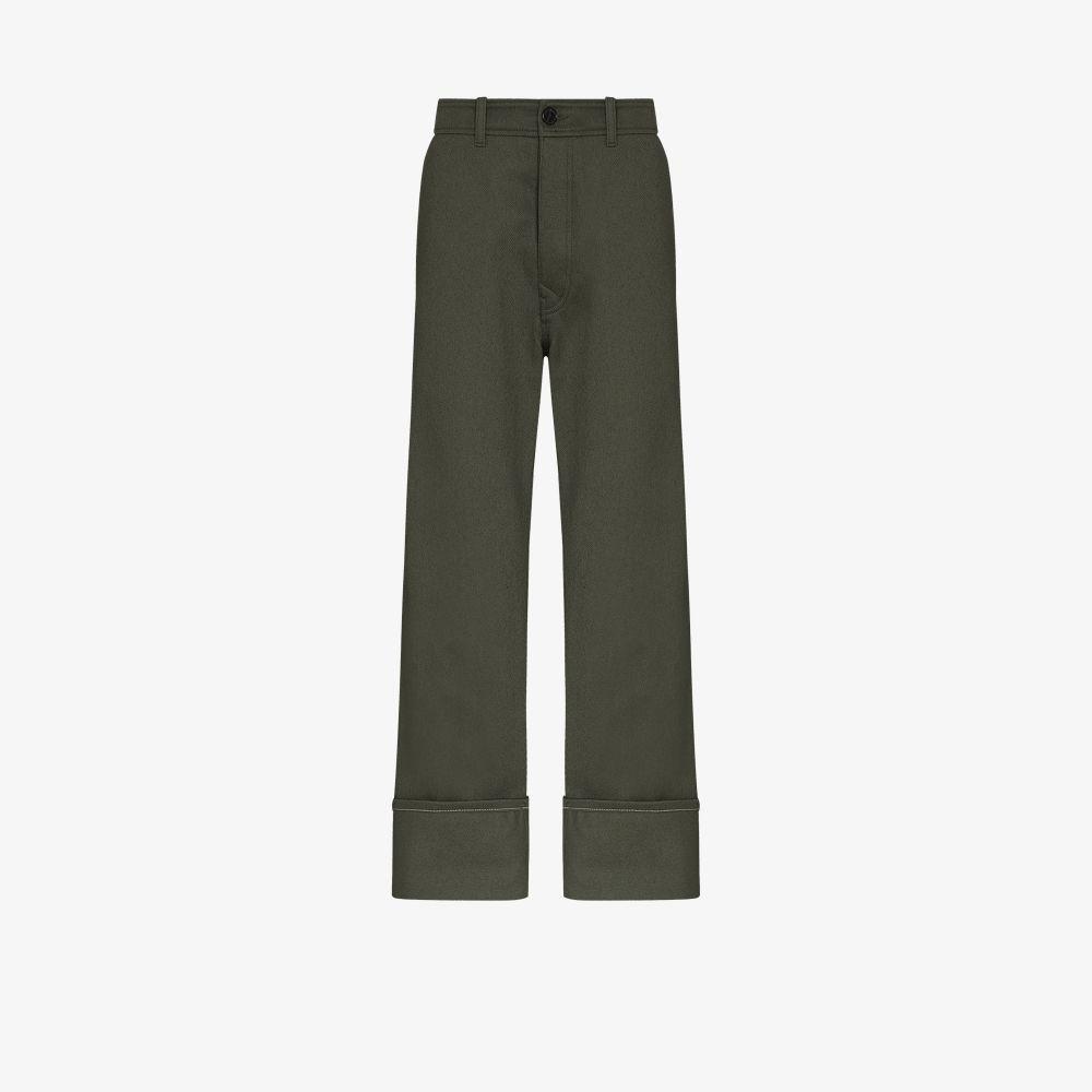 Uniforme Clothing GREEN TURN-UP HEM TROUSERS