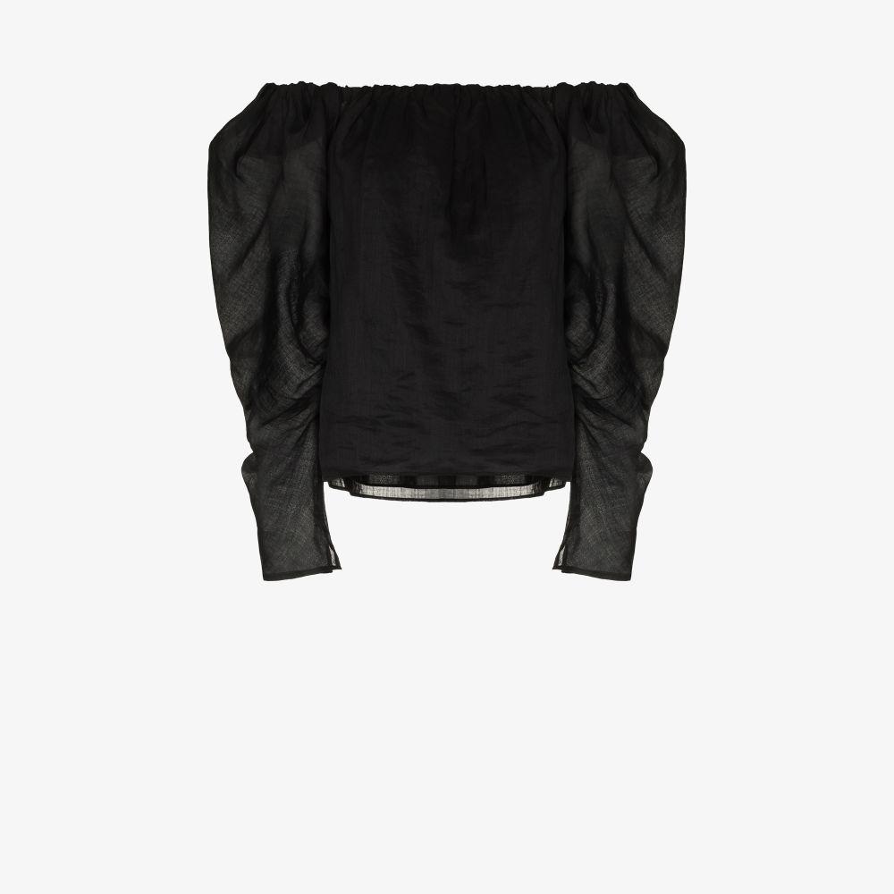 Frame BLACK GATHERED OFF-THE-SHOULDER TOP
