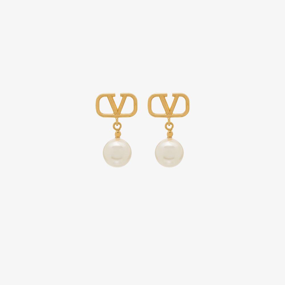 Valentino Earrings GOLD TONE VLOGO PEARL DROP EARRINGS