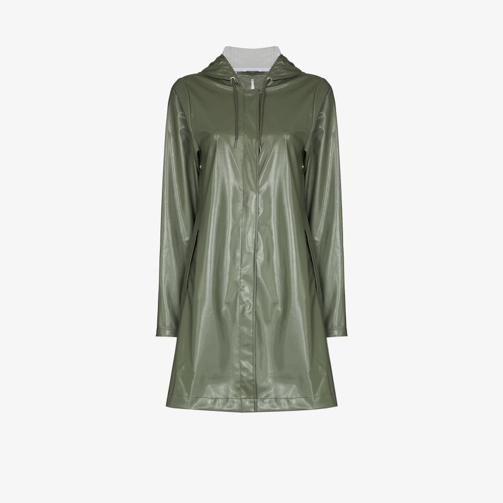 Rains GREEN A-LINE HOODED COAT