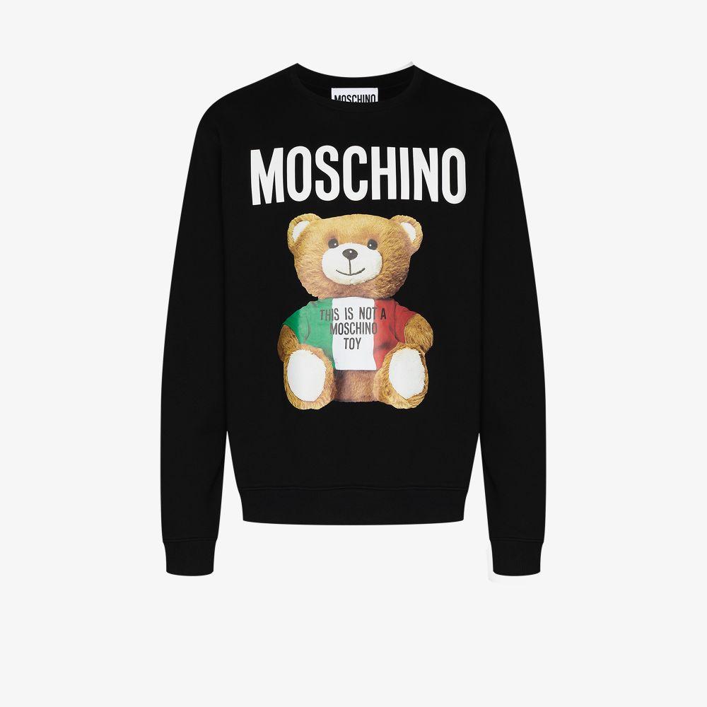 Moschino Cottons BLACK LARGE TEDDY BEAR COTTON SWEATSHIRT