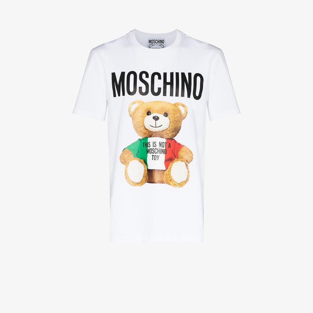 Moschino WHITE LARGE TEDDY BEAR COTTON T-SHIRT