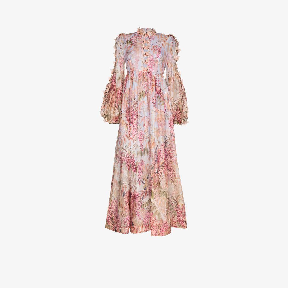 Zimmermann Linens PURPLE BOTANICA BUTTERFLY FLORAL PRINT MAXI DRESS