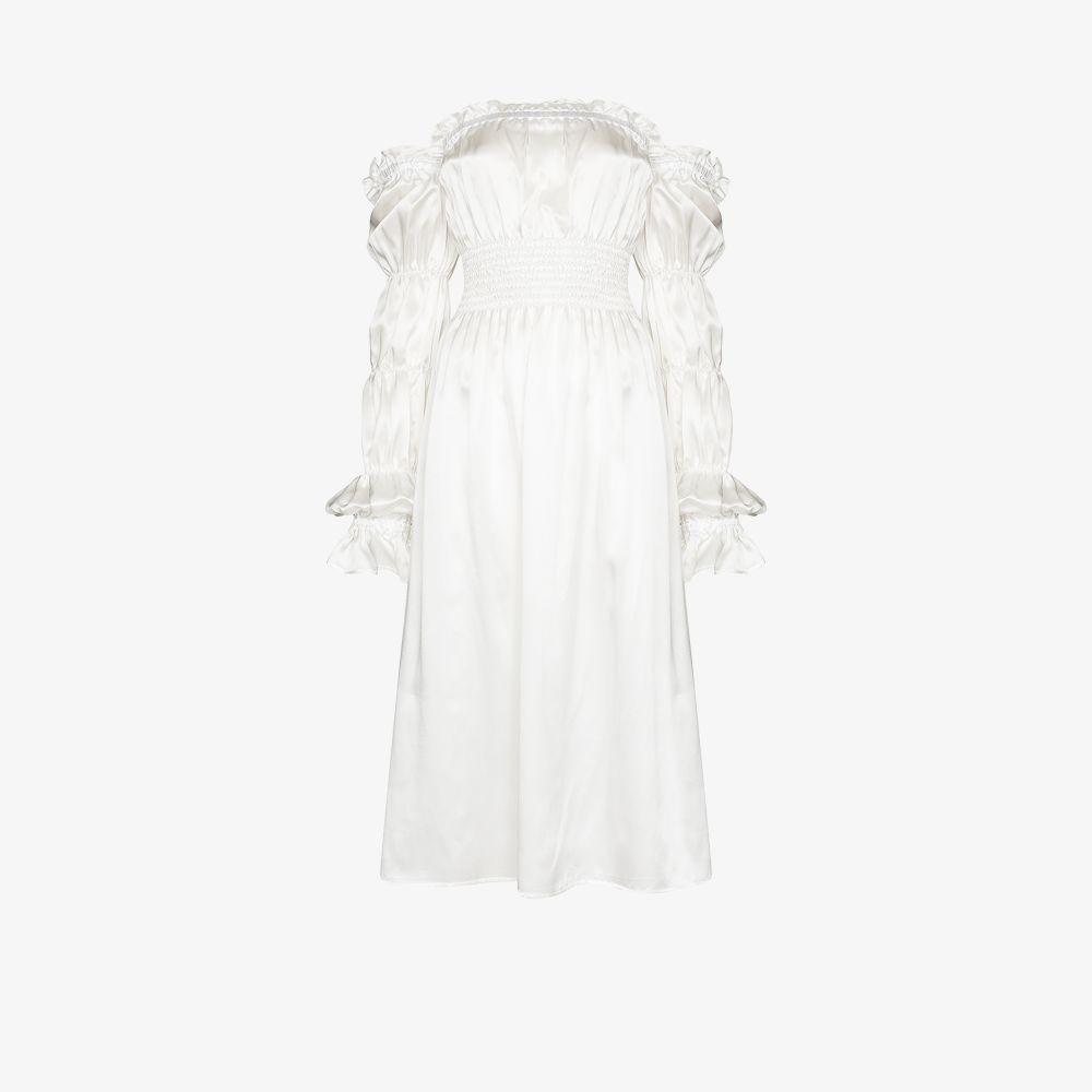 Sleeper Silks WHITE MICHELIN RUCHED SILK MIDI DRESS