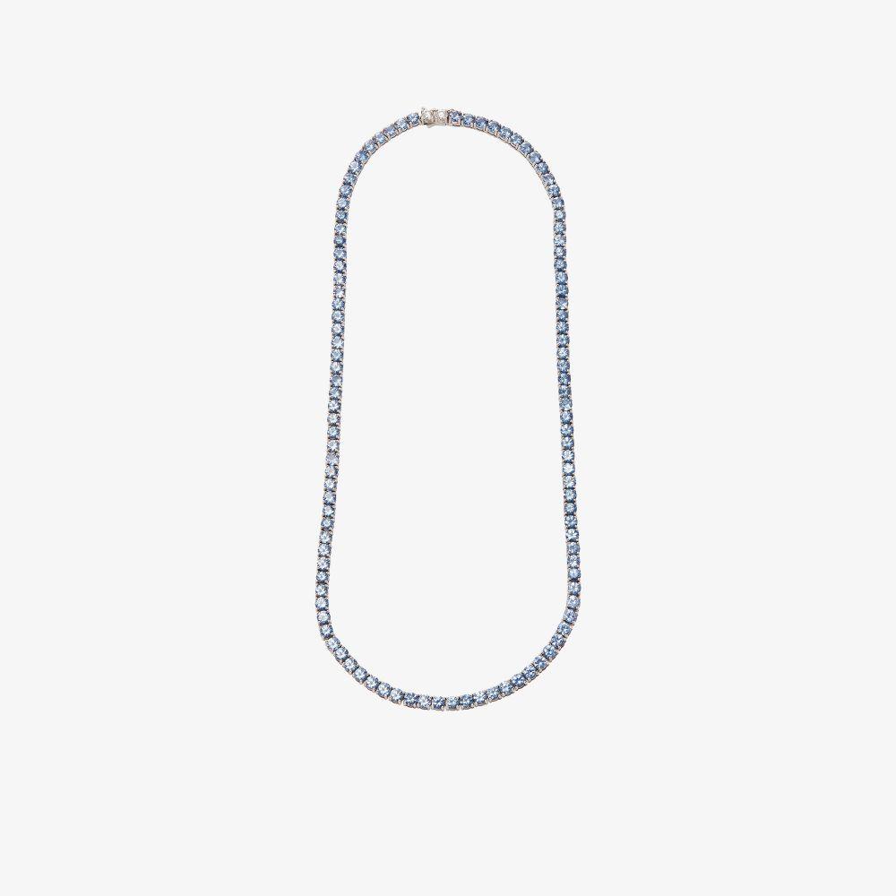 18K White Gold Sapphire Diamond Tennis Necklace