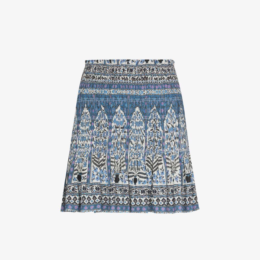 Arch Blues Printed Shirred Mini Skirt