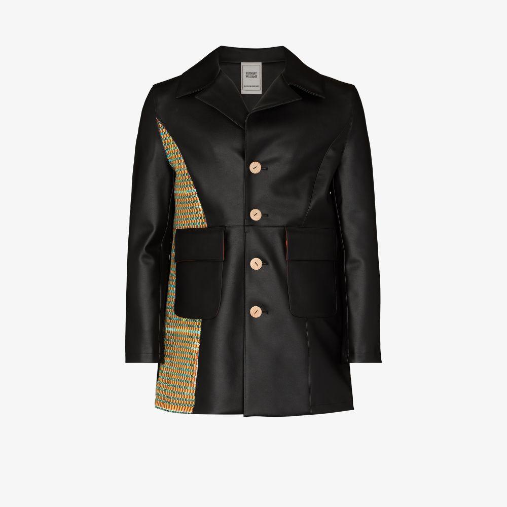Contrast Patch Faux Leather Jacket