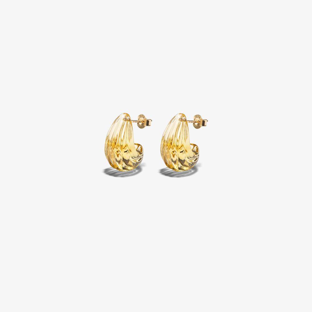 9K Yellow Gold Crescent Luluna Citrine Earrings