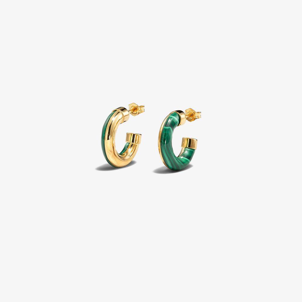 Gold-Plated Half Full Malachite Hoop Earrings