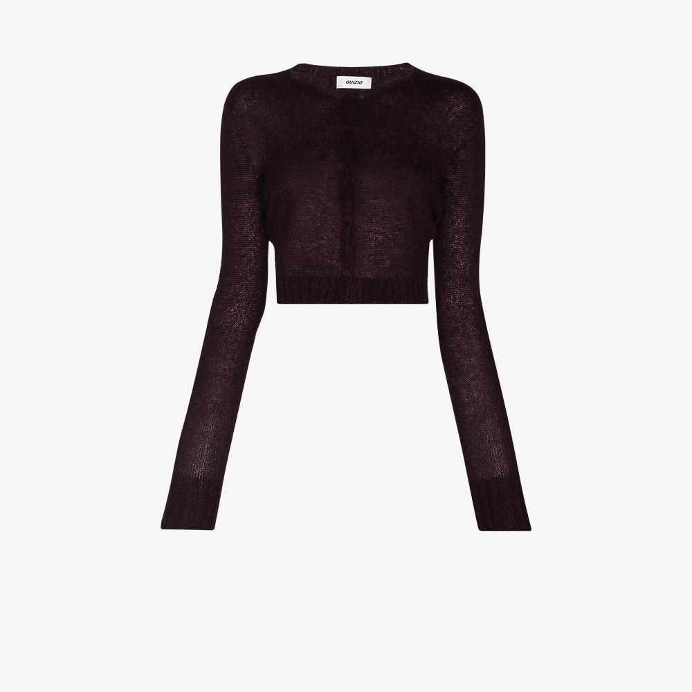 Danielle Guizio Clothing PURPLE MOHAIR RIBBED CARDIGAN