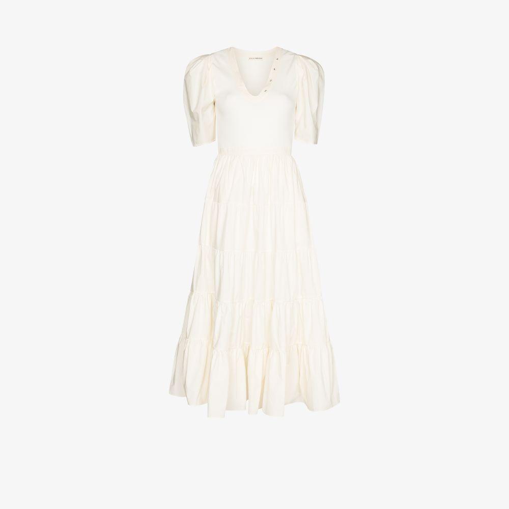 Ulla Johnson WHITE RORY TIERED POUF SLEEVE DRESS
