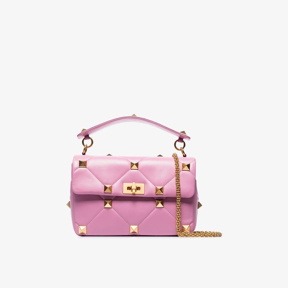 Valentino Chian bags PINK LARGE ROMAN STUD LEATHER SHOULDER BAG